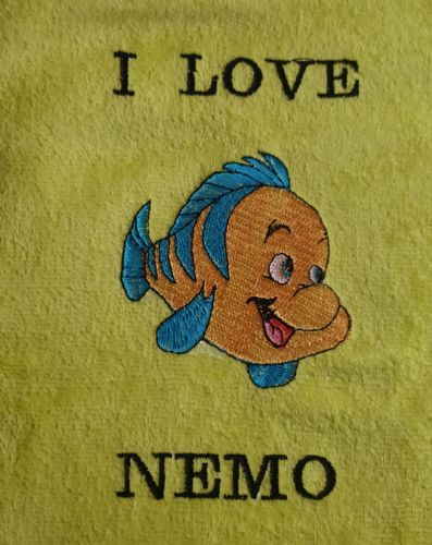 Personalised embroidered nemo yellow beach towel